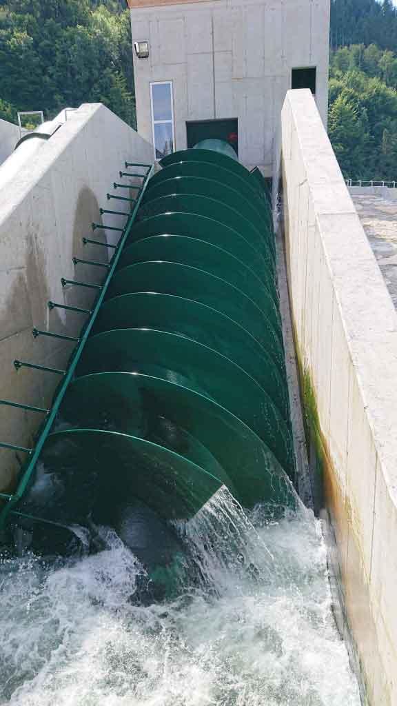 Wasserbau - KW Haunoldmühle, Fluss Steyr Restwasserschnecke