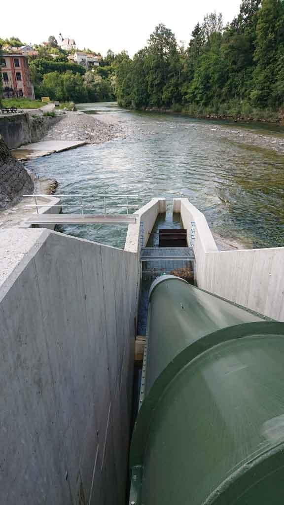 Wasserbau - KW Haunoldmühle, Fluss Steyr Fischaufstiegsschnecke